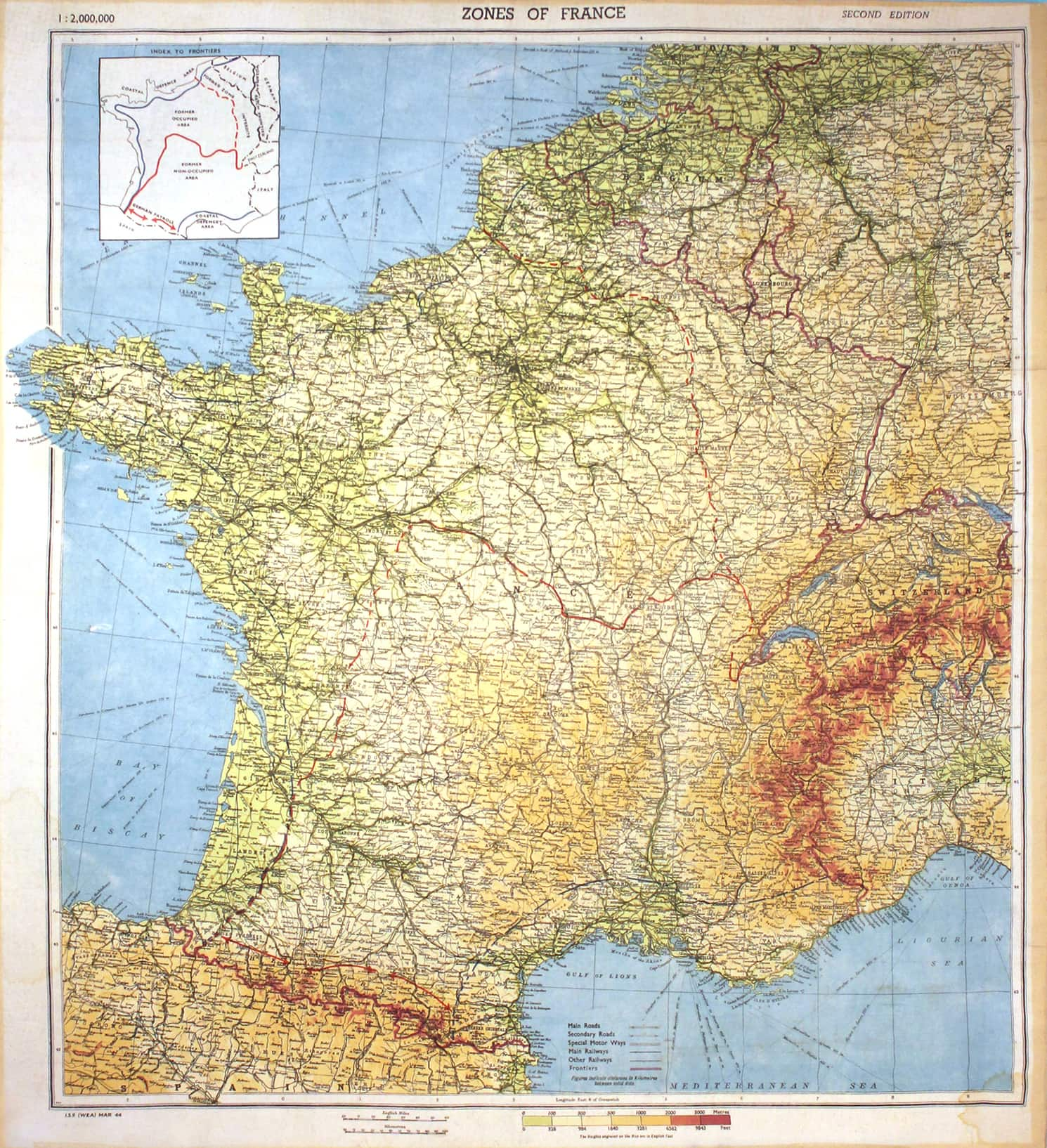 Map Of France Zones.Zones Of France World War Ii Silk Escape Map Library Trust Fund